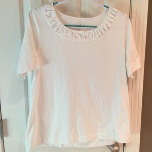 NWOT White Stag cute white top w/ruched neckline